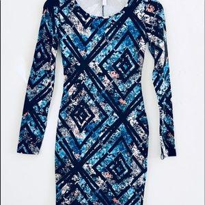 EUC FLORAL & GEOMETRIC SHEATH DRESS